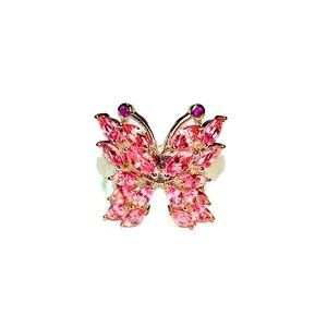 Pink Tourmaline Butterfly Ring